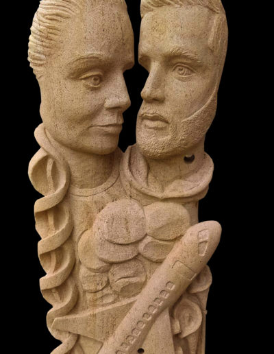 Sculpture personnalisée en pierre jaune de Lorraine pour cadeau de mariage